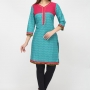 Look sophisticated at work or for day party wearing this classy aqua blue color cotton designer kurti showcasing incredibly attractive yoke and prints.