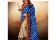 Arohi Blue Red & Straw Colored Cotton Brasso Zari Embedded Saree