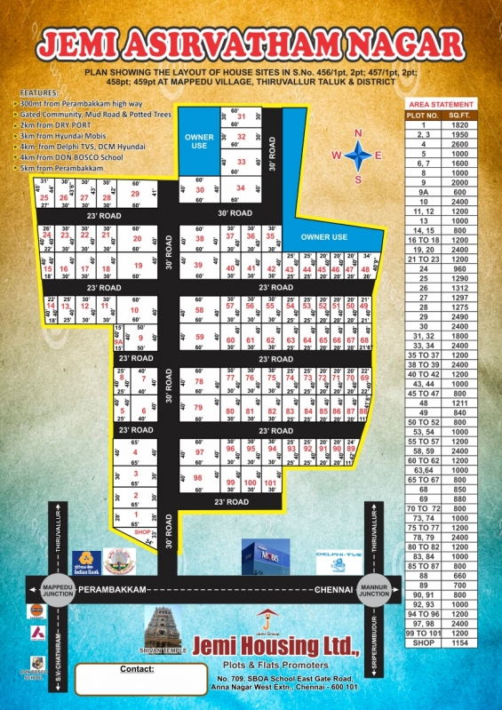 Approved plots for sale in jemi asirvatham nagar at mappedu.