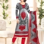 The most latest Cotton multi colour designer embroidery unstiched suit with dupatta - USA,