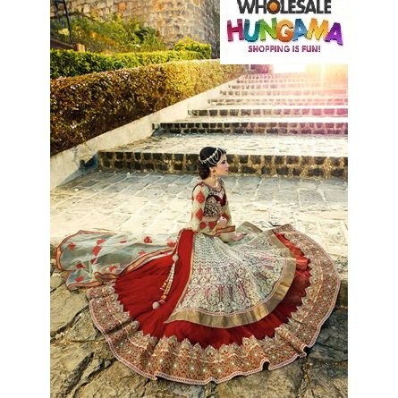 Mohini red & off white colored net bridal lehenga saree