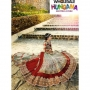 Mohini Red & Off White Colored Net Bridal Lehenga Saree