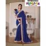 Samayra Blue Colored Georgette Zari Embroidered Resham Saree