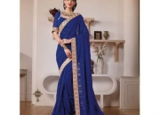 Samayra Blue Colored Georgette Zari Embroidered Resham Saree