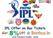 Ipl season offer on bus tickets !!! get 8% off