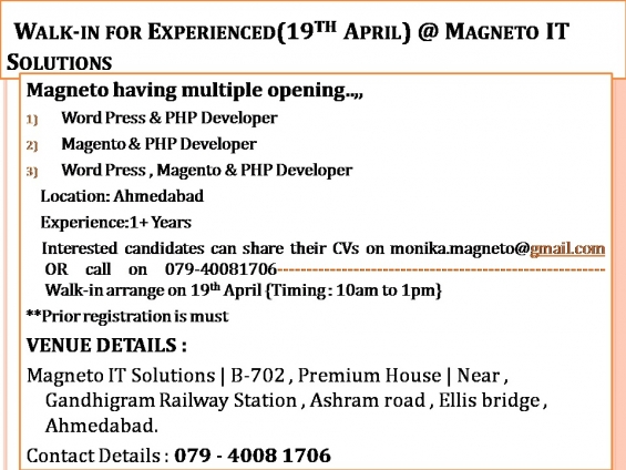 Walk-in for experienced php developer in amhedabad