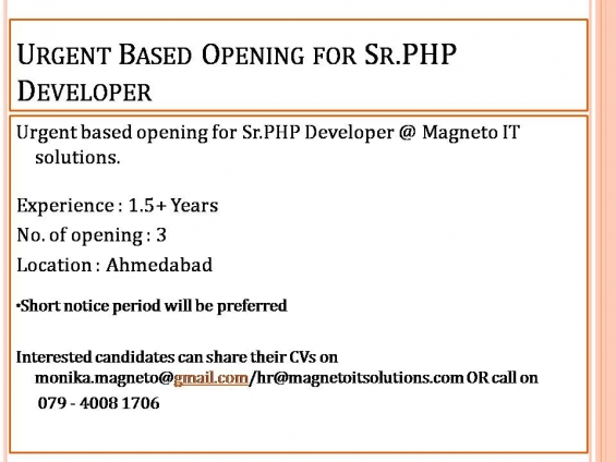 Urgent openings for sr.php developer in ahmedabad