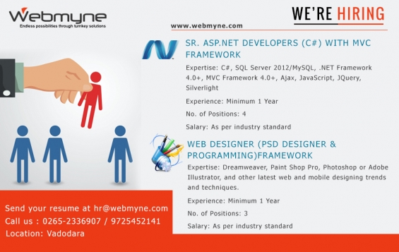 Webmyne systems pvt ltd is looking for web designer with 1 to 2 year of relevant experienc