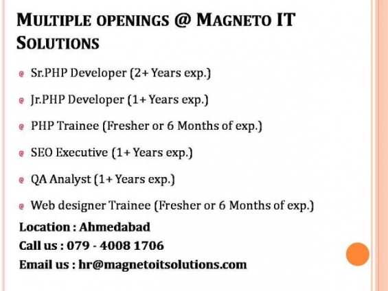 Urgent openings for php developer, seo, qa, web designer in ahmedabad