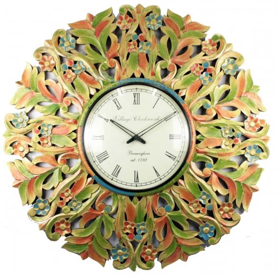 Multicolored huge antique wall clock