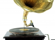 Wooden and Brass Gramophone