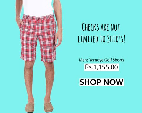 Buy check shorts for men online in india   zobello.com