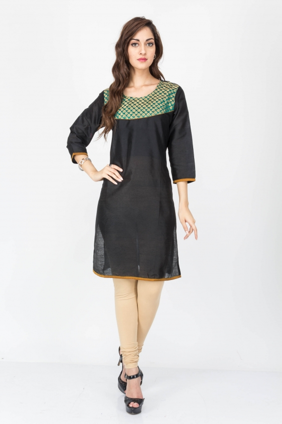 Black color cotton kurtis - wholesale