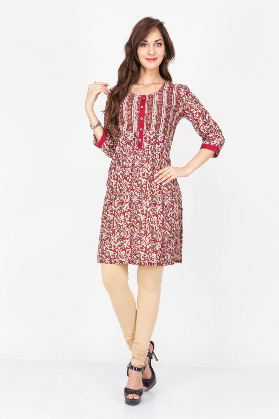 Maroon color cotton kurtis - wholesale