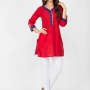Red color cotton kurtis - wholesale