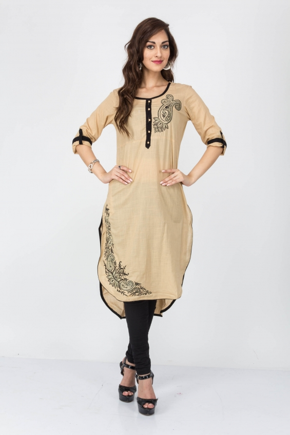 Cream color cotton kurtis - wholesale