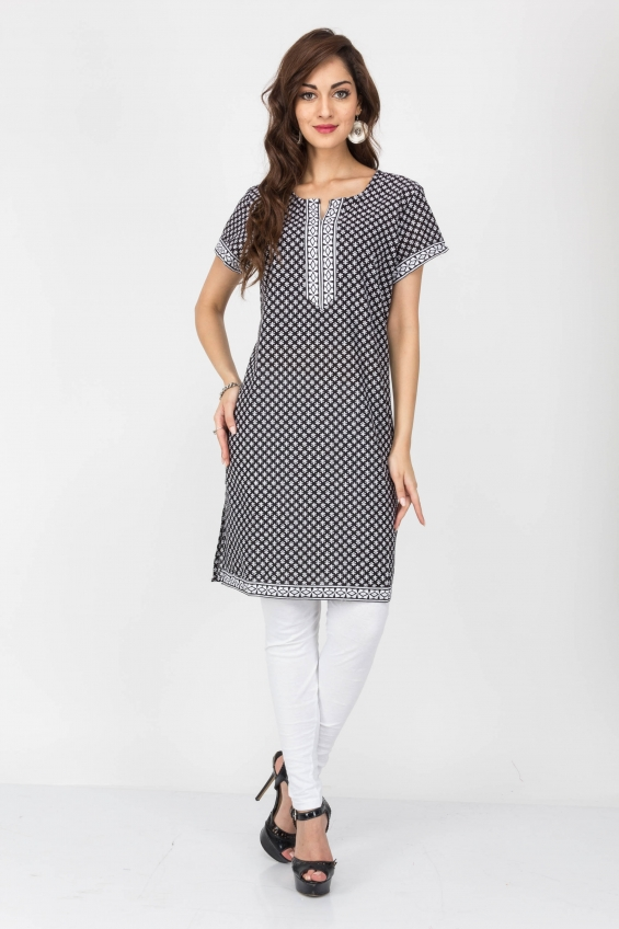 Grey color cotton kurtis - wholesale