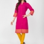 Pink color cotton kurtis - wholesale