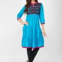 Aqua blue color cotton kurtis - wholesale