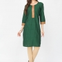 Green color cotton kurtis - wholesale