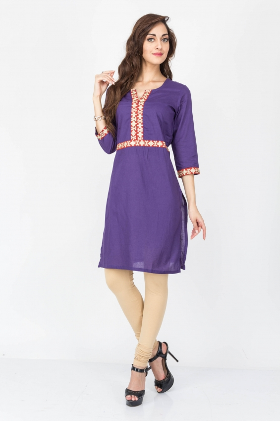 Purple color cotton kurtis - wholesale