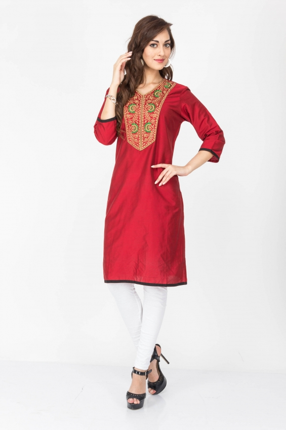 Red color designer cotton kurtis - wholesale