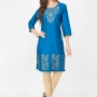 Blue color cotton kurtis - wholesale