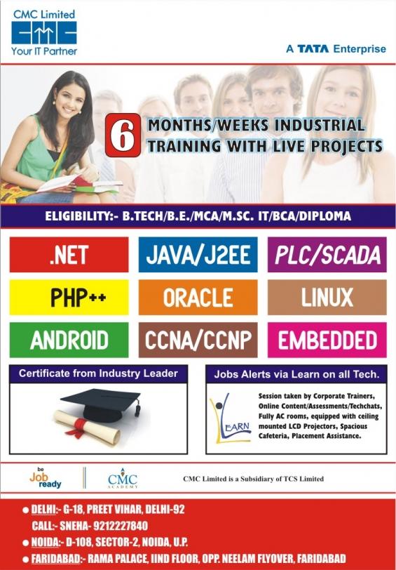 Call at 9212227840 for six week summer internship at cmc-tcs delhi