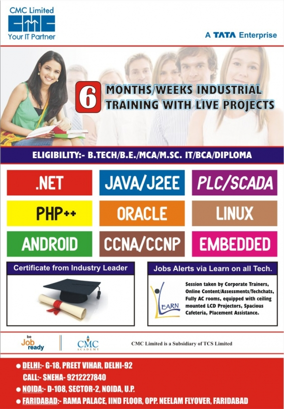 Six week summer training at cmc-tcs delhi/noida/faridabad