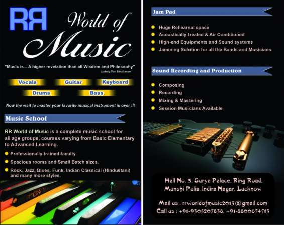 Learn guitar, piano, vocal, drums and bass in lucknow