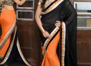 Black Georgette Embroidered Work Party Wear Saree - Indian Saree Store