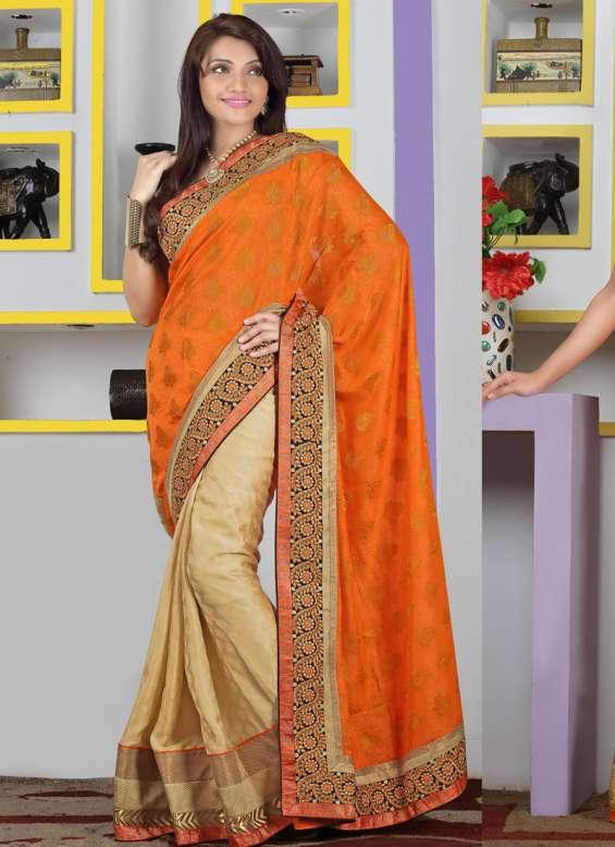 Orange viscose embroidered work party wear saree - indian saree store