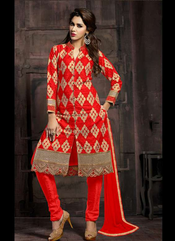 Red cotton embroidered designer straight churidar suit ladies churidar suits buy churidar suits online suit fabric cotton and work embroidered patch border and zari work ocassion reception festival and party wear suit it come with mattching designer botto