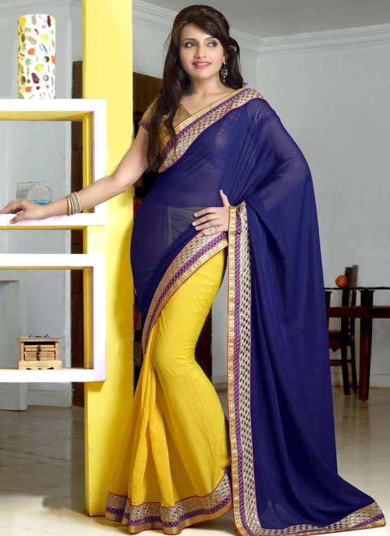 Royal blue georgette embroidered work party wear saree - indian saree store
