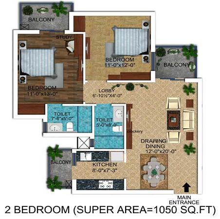 Floor plan of 2 bhk flat