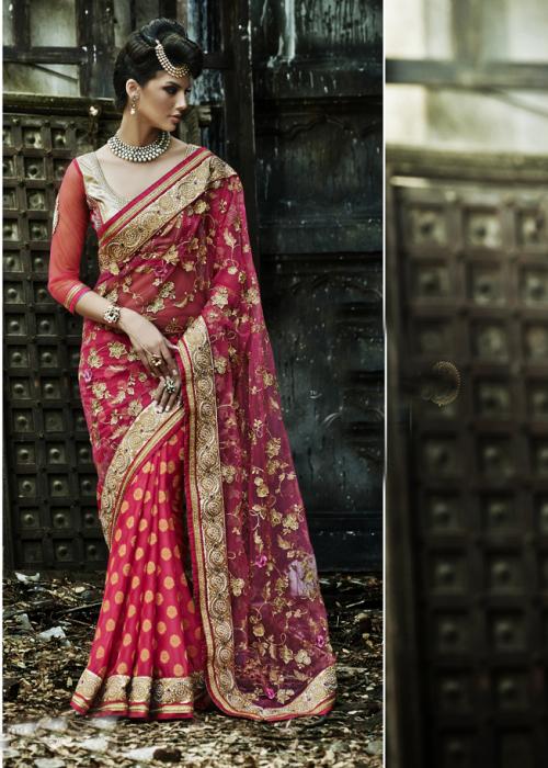 Red net embroidered half & half saree