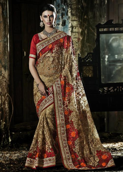 Golden fuchsia net & faux georgette wedding saree