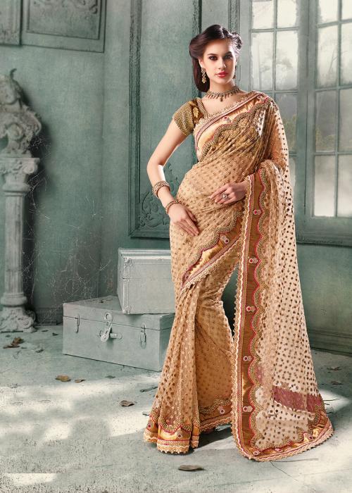 """""""stunning beige net wedding saree"""" """"velvet & net half n half embroidered saree in blue & beige"""" """"art net & georgette half n half saree"""" """"art net & georgette half n half saree1"""" """"beige and old red rose net lehenga choli with dupatta"""" """"brocade pink half n ha"""