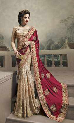"""""""faux georgette embroidered wedding saree"""" """"faux georgette half-half wedding saree"""" """"fuchsia net & faux georgette wedding saree in pink & golden color"""" """"golden fuchsia net & faux georgette wedding saree"""" """"maroon faux shimmer georgette designer saree"""" """"maro"""