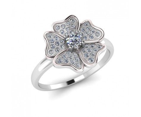 Sterling silver charm flower ring for women at whitefusion