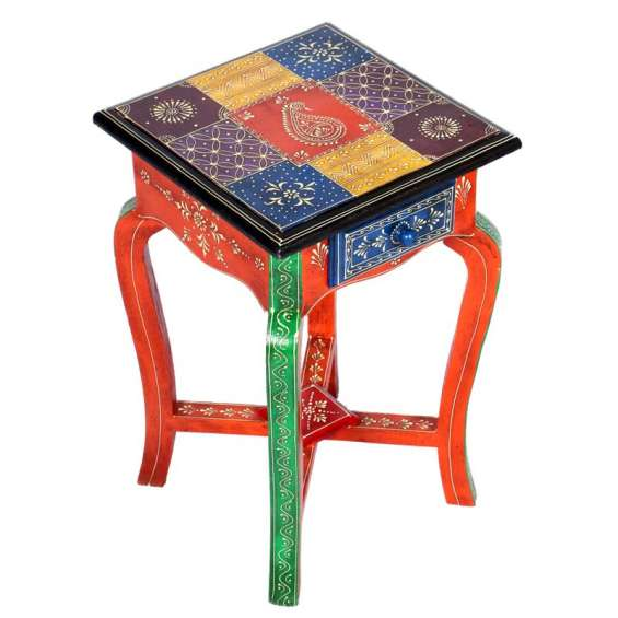 Colourful square shape wooden long stool with drawer