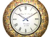 Colourful Metal Fitted Handpainting Wooden Round Wall Clock