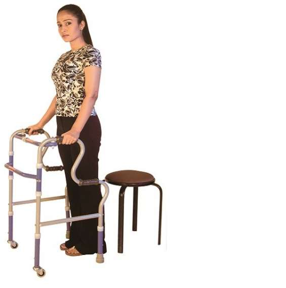 Vissco invalid step adjustment folding walker castors