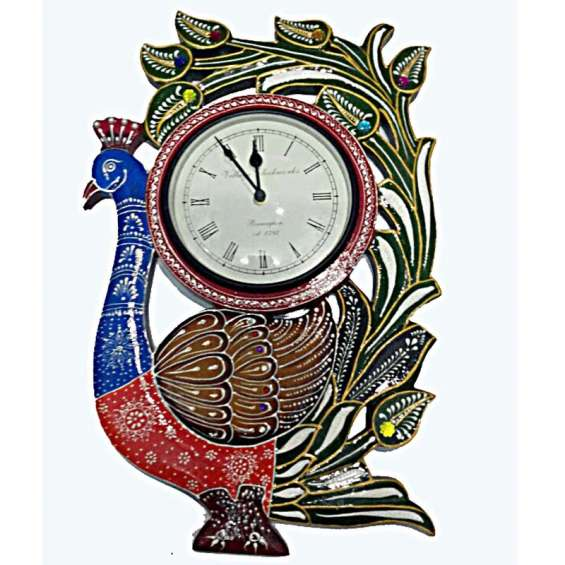 Colourfull single peacock with carving and handpainting wooden wall clock