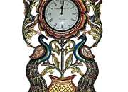 Couple Of Peacock On Big Flower Port With Carving And Handpainting Wooden Wall Clock