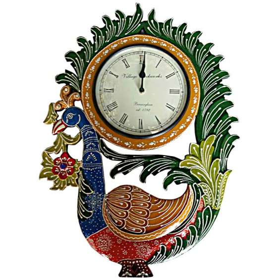Ethnic single peacock with carving and handpainted wooden wall clock