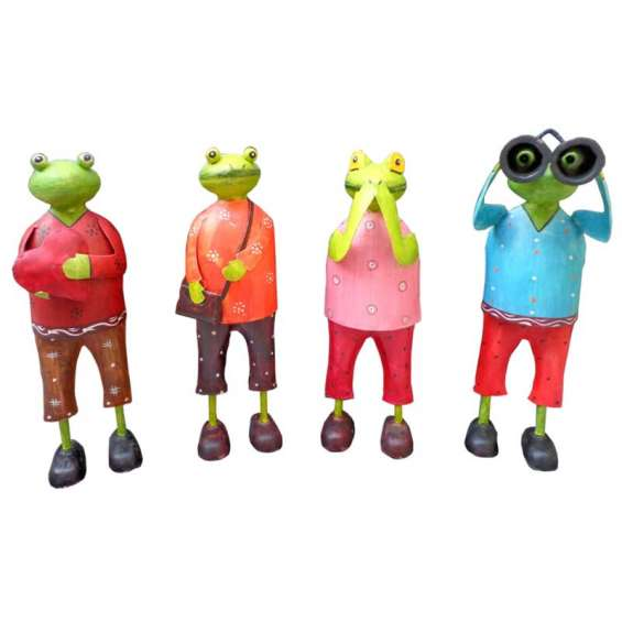 Funny frogs iron sheet made with hand painting set of 4 piece