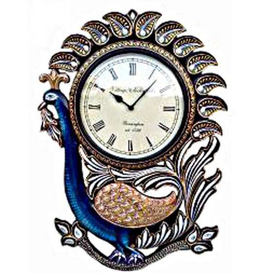 Single peacock with carving and handpainting wooden wall clock