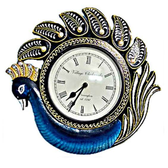 Single peacock without legs with carving and handpainting wooden wall clock
