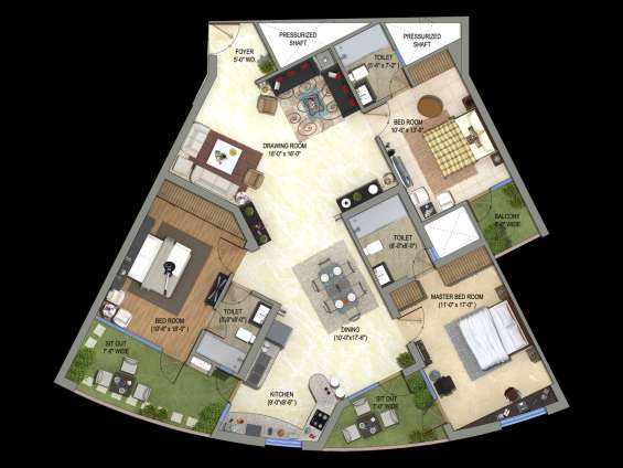 Supertech orb flats/apartments of 3/4 bhk (2223 to 4270sq.ft) in noida sector 74